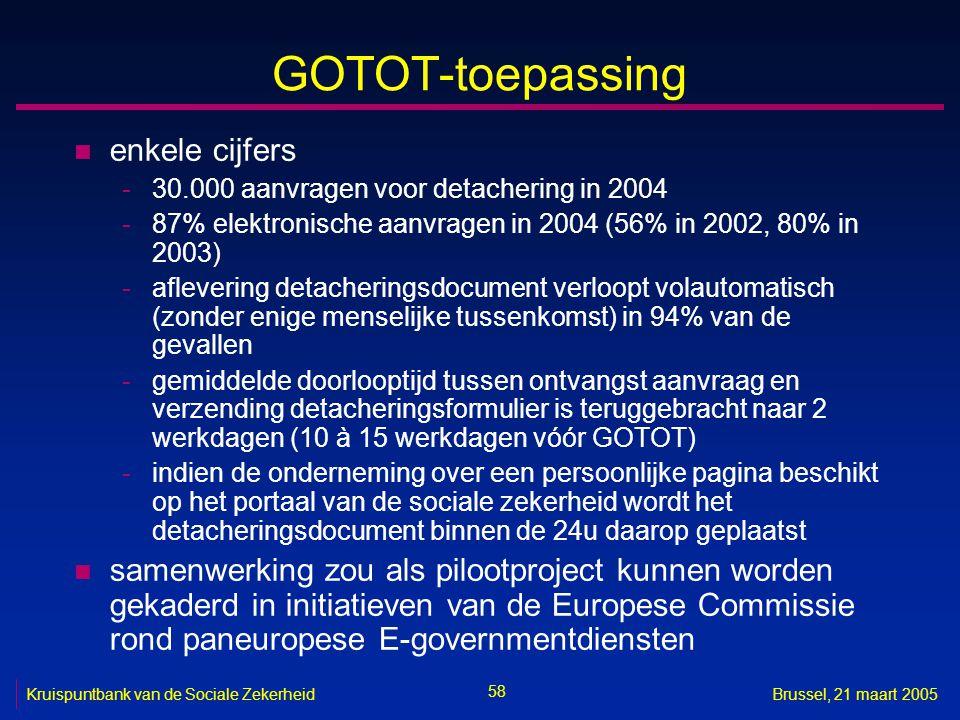 58 Kruispuntbank van de Sociale ZekerheidBrussel, 21 maart 2005 GOTOT-toepassing n enkele cijfers -30.000 aanvragen voor detachering in 2004 -87% elek