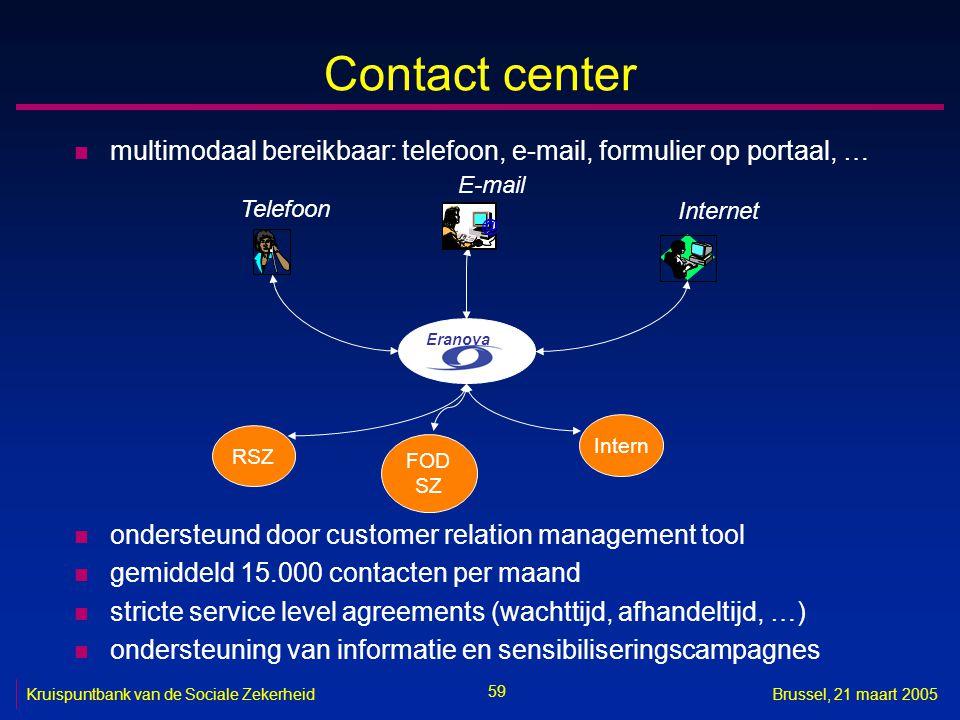 59 Kruispuntbank van de Sociale ZekerheidBrussel, 21 maart 2005 Contact center n multimodaal bereikbaar: telefoon, e-mail, formulier op portaal, … n o