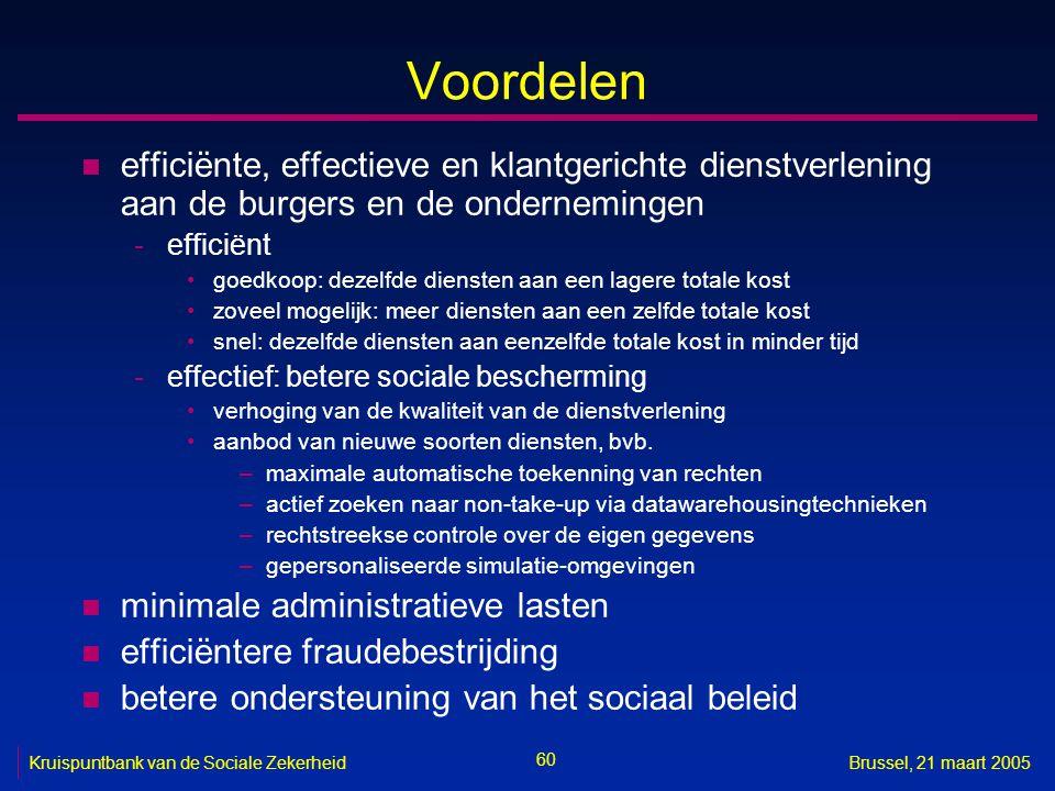 60 Kruispuntbank van de Sociale ZekerheidBrussel, 21 maart 2005 Voordelen n efficiënte, effectieve en klantgerichte dienstverlening aan de burgers en