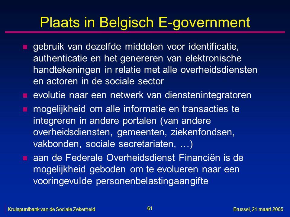 61 Kruispuntbank van de Sociale ZekerheidBrussel, 21 maart 2005 Plaats in Belgisch E-government n gebruik van dezelfde middelen voor identificatie, au