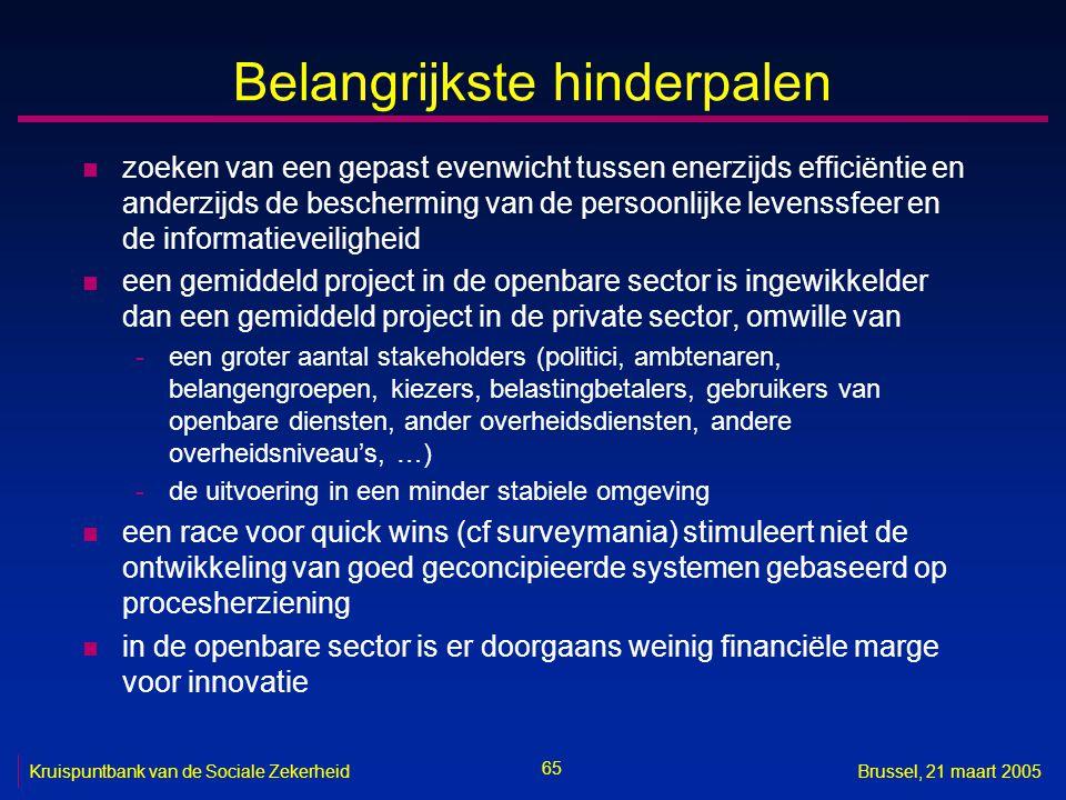 65 Kruispuntbank van de Sociale ZekerheidBrussel, 21 maart 2005 Belangrijkste hinderpalen n zoeken van een gepast evenwicht tussen enerzijds efficiënt