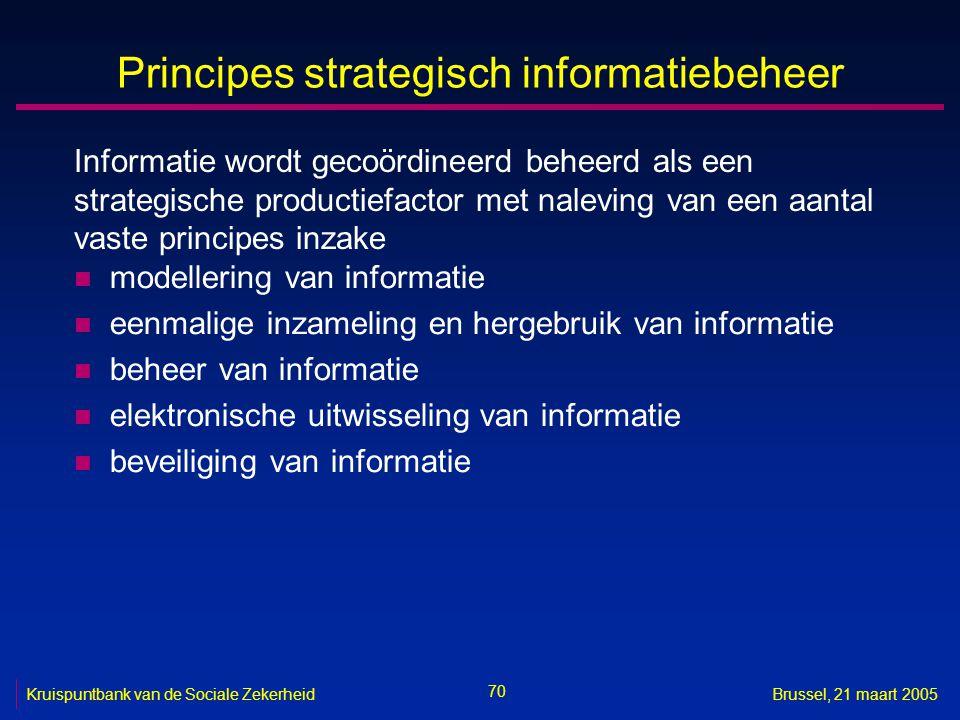 70 Kruispuntbank van de Sociale ZekerheidBrussel, 21 maart 2005 Principes strategisch informatiebeheer n modellering van informatie n eenmalige inzame