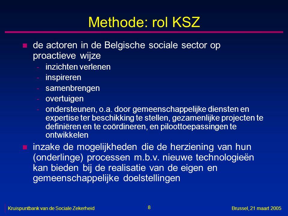 9 Kruispuntbank van de Sociale ZekerheidBrussel, 21 maart 2005 Methode: rol KSZ n uiteindelijk doel is -de actoren in de Belgische sociale sector tijdig voldoende kennis en overtuiging te laten opbouwen om de herziening van hun (onderlinge) processen m.b.v.