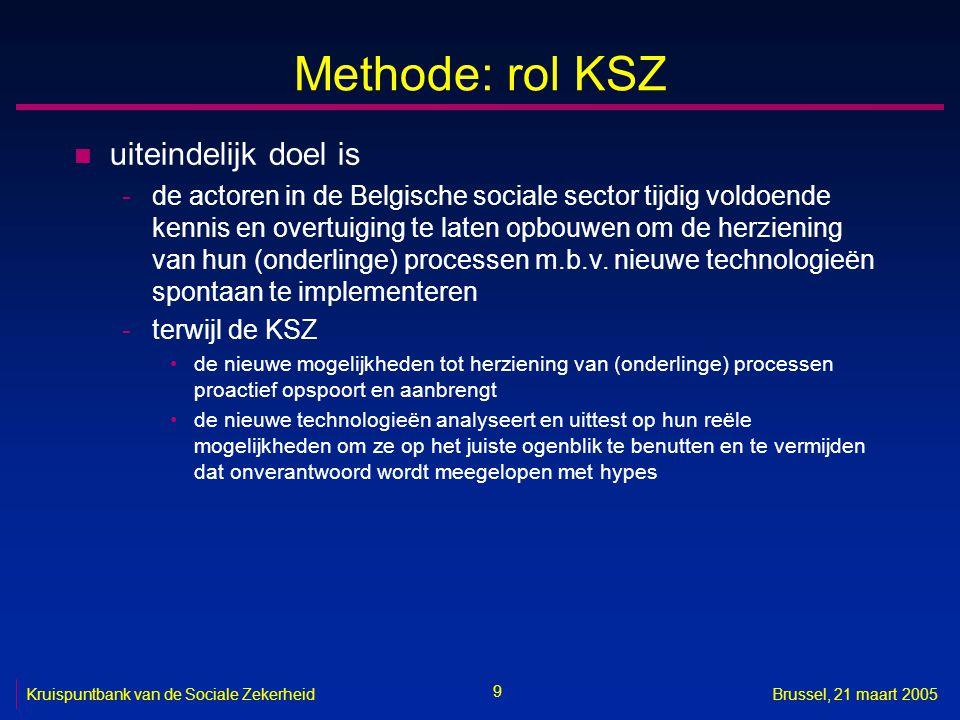 9 Kruispuntbank van de Sociale ZekerheidBrussel, 21 maart 2005 Methode: rol KSZ n uiteindelijk doel is -de actoren in de Belgische sociale sector tijd