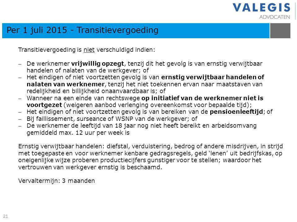 21 Kern artikelen 7: 670b BW Per 1 juli 2015 - Transitievergoeding Transitievergoeding is niet verschuldigd indien: De werknemer vrijwillig opzegt, t