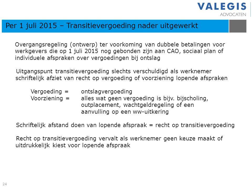 Overgangsregeling (ontwerp) ter voorkoming van dubbele betalingen voor werkgevers die op 1 juli 2015 nog gebonden zijn aan CAO, sociaal plan of indivi