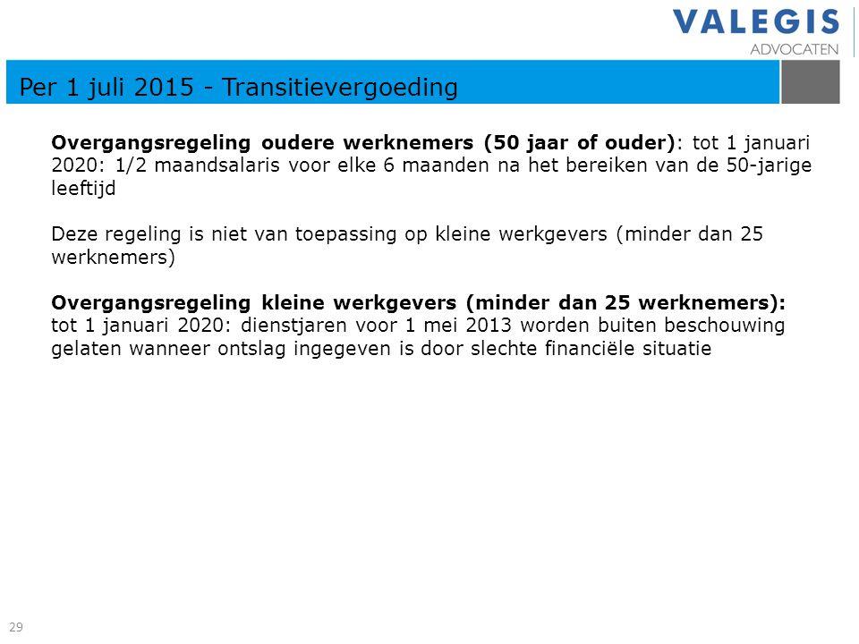 Overgangsregeling oudere werknemers (50 jaar of ouder): tot 1 januari 2020: 1/2 maandsalaris voor elke 6 maanden na het bereiken van de 50-jarige leef