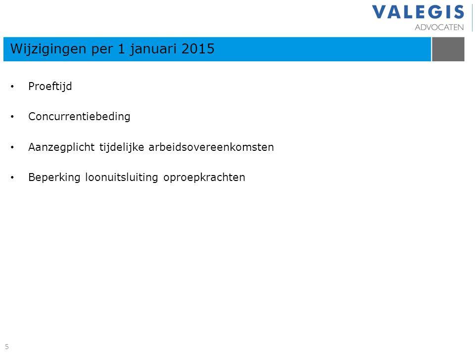 Proeftijd Concurrentiebeding Aanzegplicht tijdelijke arbeidsovereenkomsten Beperking loonuitsluiting oproepkrachten Wijzigingen per 1 januari 2015 5
