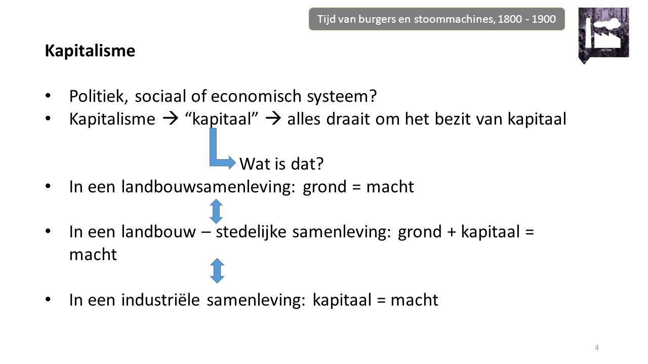 """Tijd van burgers en stoommachines, 1800 - 1900 4 Kapitalisme Politiek, sociaal of economisch systeem? Kapitalisme  """"kapitaal""""  alles draait om het b"""