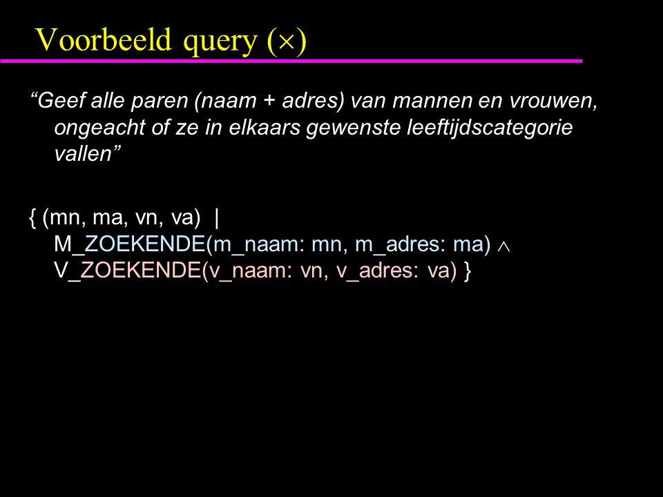 Voorbeeld query (  ) Geef alle paren (naam + adres) van mannen en vrouwen, ongeacht of ze in elkaars gewenste leeftijdscategorie vallen { (mn, ma, vn, va) | M_ZOEKENDE(m_naam: mn, m_adres: ma)  V_ZOEKENDE(v_naam: vn, v_adres: va) }