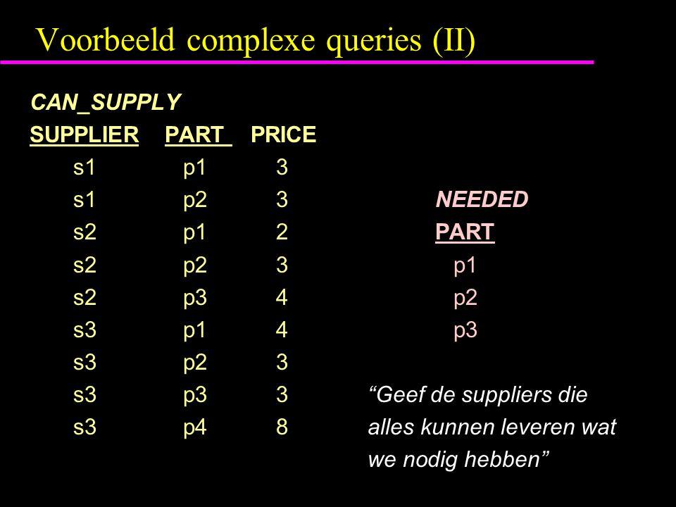 Voorbeeld complexe queries (II) CAN_SUPPLY SUPPLIERPART PRICE s1 p1 3 s1 p2 3NEEDED s2 p1 2PART s2 p2 3 p1 s2 p3 4 p2 s3 p1 4 p3 s3 p2 3 s3 p3 3 Geef de suppliers die s3 p4 8alles kunnen leveren wat we nodig hebben
