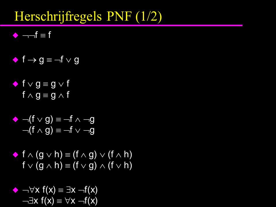 Herschrijfregels PNF (1/2) u  f  f u f  g   f  g u f  g  g  f f  g  g  f u  (f  g)   f   g  (f  g)   f   g u f  (g  h)  (f  g)  (f  h) f  (g  h)  (f  g)  (f  h) u  x f(x)   x  f(x)  x f(x)   x  f(x)