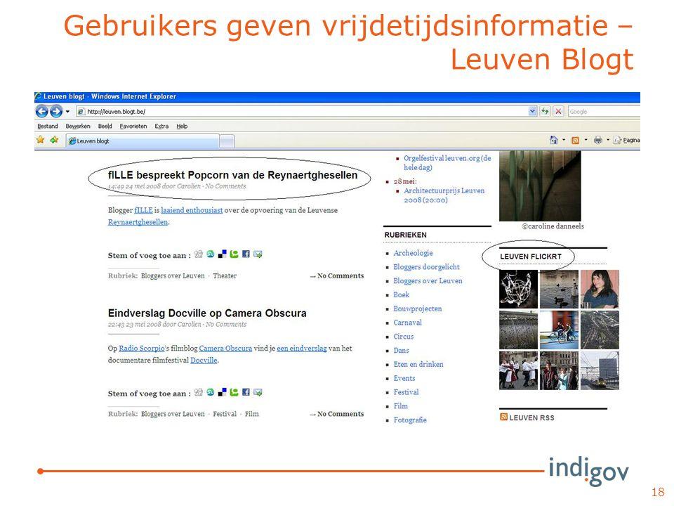 Gebruikers geven vrijdetijdsinformatie – Leuven Blogt 18