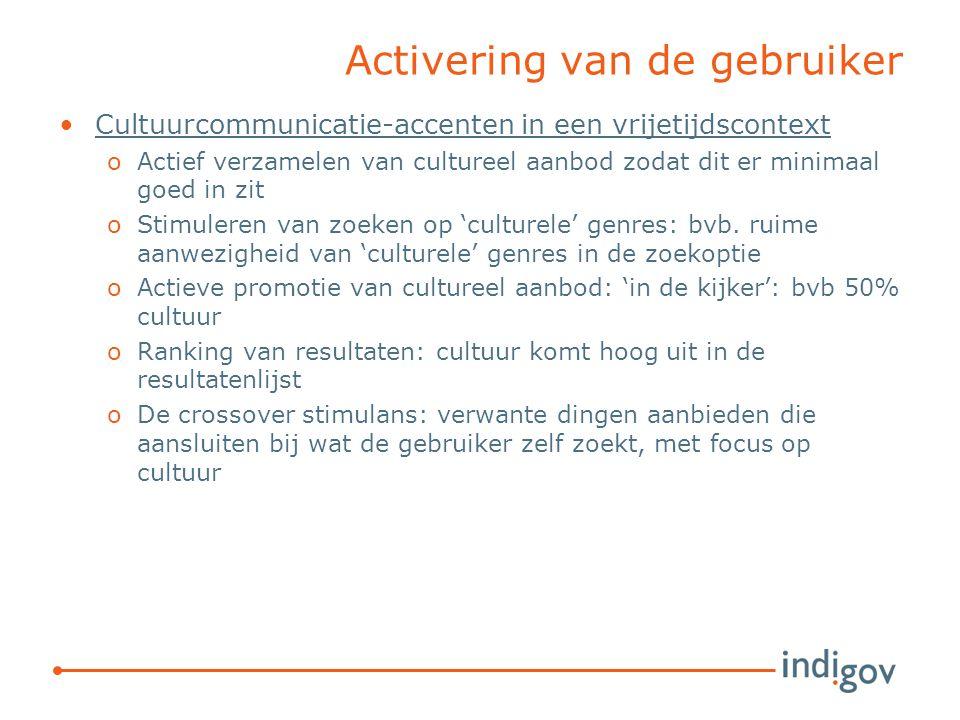 Activering van de gebruiker Cultuurcommunicatie-accenten in een vrijetijdscontext oActief verzamelen van cultureel aanbod zodat dit er minimaal goed in zit oStimuleren van zoeken op 'culturele' genres: bvb.