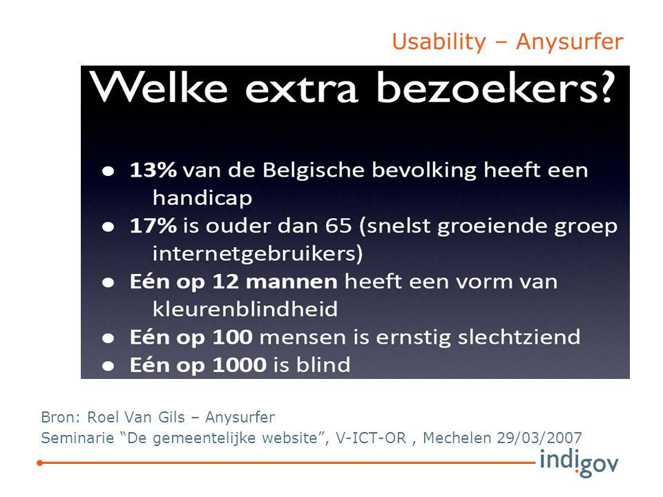 Usability – Anysurfer Bron: Roel Van Gils – Anysurfer Seminarie De gemeentelijke website , V-ICT-OR, Mechelen 29/03/2007