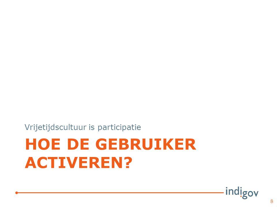 HOE DE GEBRUIKER ACTIVEREN Vrijetijdscultuur is participatie 8