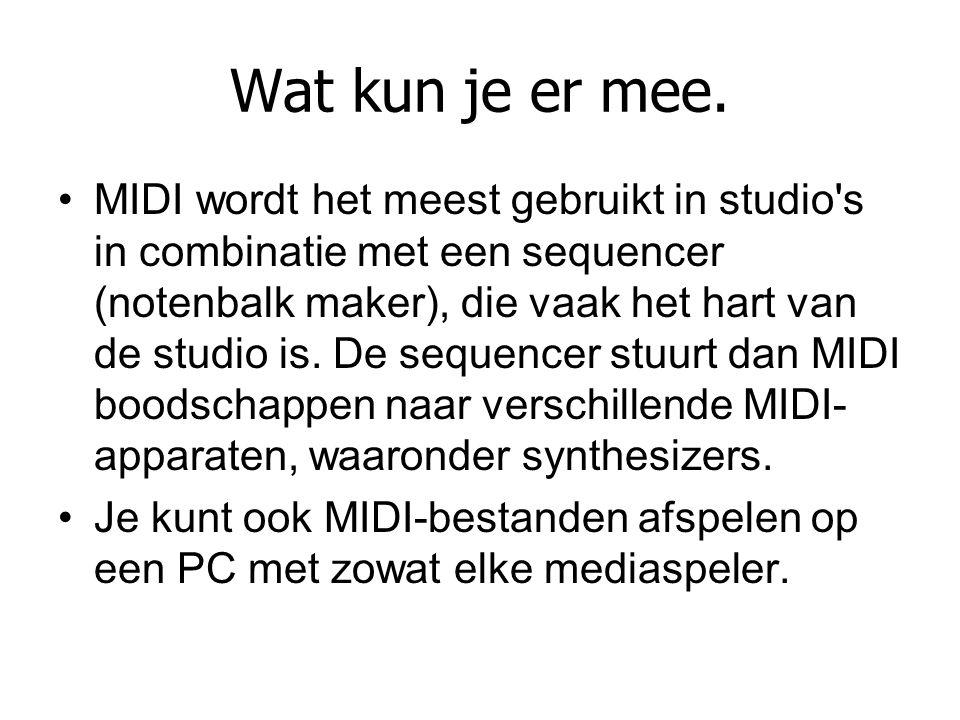 Wat kun je er mee. MIDI wordt het meest gebruikt in studio's in combinatie met een sequencer (notenbalk maker), die vaak het hart van de studio is. De