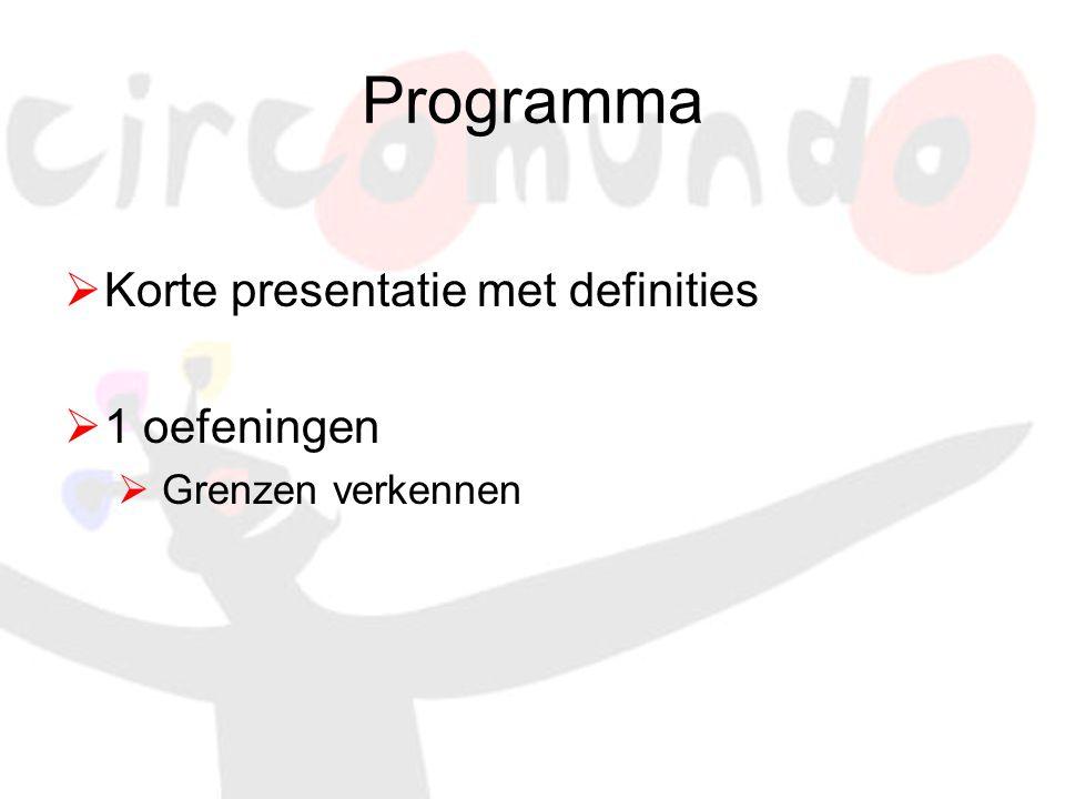 Programma  Korte presentatie met definities  1 oefeningen  Grenzen verkennen