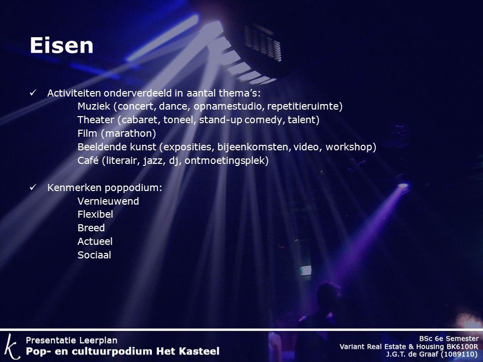 Eisen Activiteiten onderverdeeld in aantal thema's: Muziek (concert, dance, opnamestudio, repetitieruimte) Theater (cabaret, toneel, stand-up comedy, talent) Film (marathon) Beeldende kunst (exposities, bijeenkomsten, video, workshop) Café (literair, jazz, dj, ontmoetingsplek) Kenmerken poppodium: Vernieuwend Flexibel Breed Actueel Sociaal