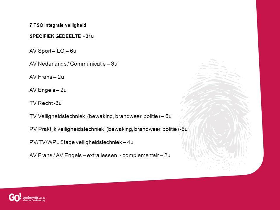 7 BSO Veiligheidsberoepen BASISVORMING- 10 u AV Godsdienst / Niet-confessionele Zedenleer – 2u AV Lichamelijke opvoeding – 2u AV Project algemene vakken -6u SPECIFIEK GEDEELTE -25u AV Sport – 4u TV Nederlands / Communicatie -1u TV Recht – 4 u TV Veiligheidstechniek – 4u PV Praktijk veiligheidstechniek – 4 u PV / TV Stage veiligheidstechniek -4u AV Frans – 2u AV Engels – 2u