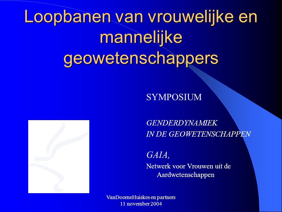 VanDoorneHuiskes en partners 11 november 2004 Loopbanen van vrouwelijke en mannelijke geowetenschappers SYMPOSIUM GENDERDYNAMIEK IN DE GEOWETENSCHAPPE