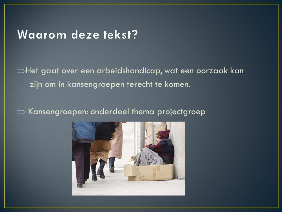  Het gaat over een arbeidshandicap, wat een oorzaak kan zijn om in kansengroepen terecht te komen.  Kansengroepen: onderdeel thema projectgroep