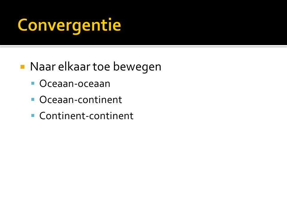  Naar elkaar toe bewegen  Oceaan-oceaan  Oceaan-continent  Continent-continent