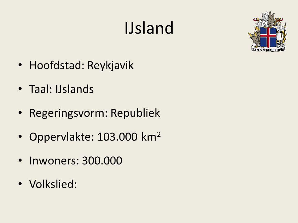 IJsland Hoofdstad: Reykjavik Taal: IJslands Regeringsvorm: Republiek Oppervlakte: 103.000 km 2 Inwoners: 300.000 Volkslied: