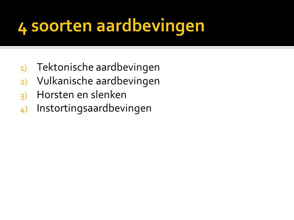 1) Tektonische aardbevingen 2) Vulkanische aardbevingen 3) Horsten en slenken 4) Instortingsaardbevingen