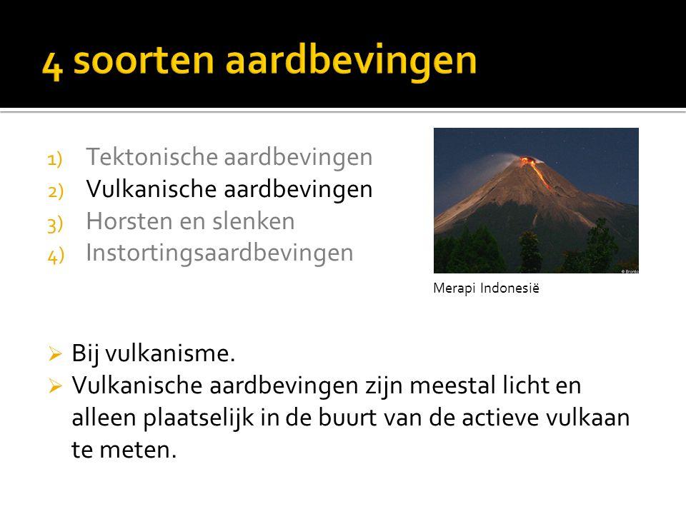 1) Tektonische aardbevingen 2) Vulkanische aardbevingen 3) Horsten en slenken 4) Instortingsaardbevingen Merapi Indonesië  Bij vulkanisme.  Vulkanis