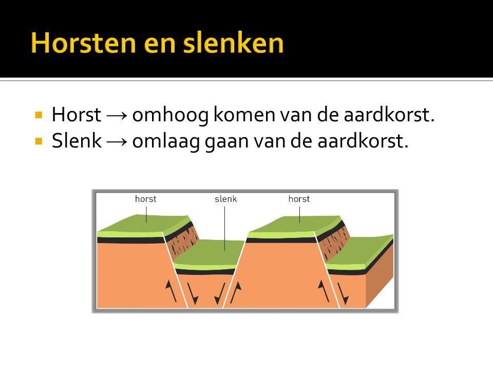  Horst → omhoog komen van de aardkorst.  Slenk → omlaag gaan van de aardkorst.