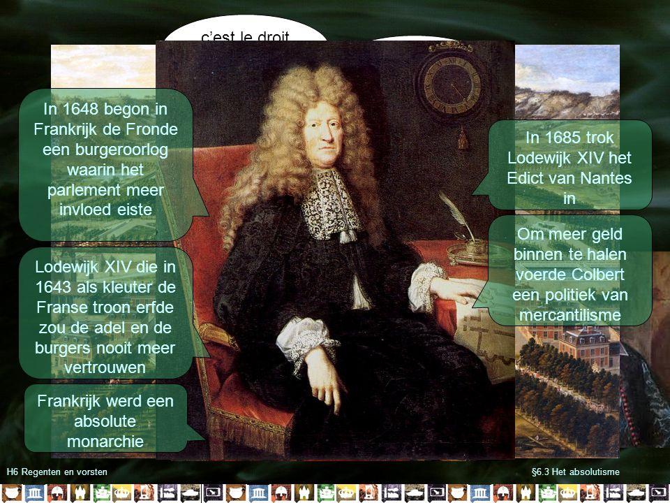 Bisschop van Münster Bisschop van Keulen Koning van Frankrijk Lodewijk XIV Franse Vloot Engelse Vloot H6 Regenten en vorsten§6.3 Het absolutisme Lodewijk XIV streefde naar natuurlijke grenzen Om de Republiek te onderwerpen viel hij samen met Engeland, Münster en Keulen in 1672 aan Raadspensionaris Johan de Witt en zijn broer kregen de schuld van het Rampjaar Stadhouder Willem III wist de Franse en Duitse troepen uiteindelijk te verdrijven