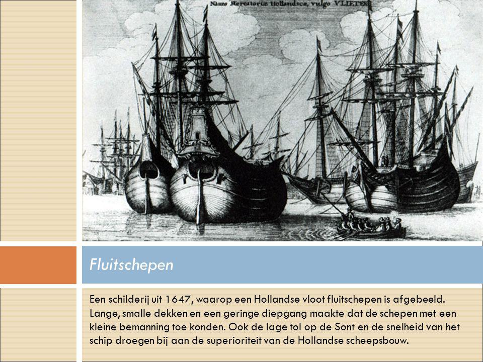 Een schilderij uit 1647, waarop een Hollandse vloot fluitschepen is afgebeeld. Lange, smalle dekken en een geringe diepgang maakte dat de schepen met