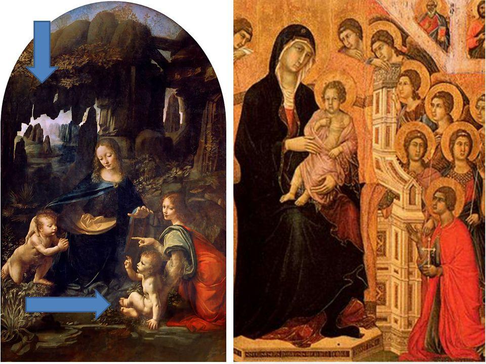 Middeleeuwen (tot 1500) Renaissance (vanaf 1450 in Italië) Geloof staat centraalInspiratie uit Oudheid (Geloof is nog steeds belangrijk) Leven op aarde onbelangrijk Leven op aarde belangrijk Schilderijen geen diepteSchilderijen met diepte Schilders anoniemSchilders signeerden werk Het mensbeeld was veranderd in de Renaissance