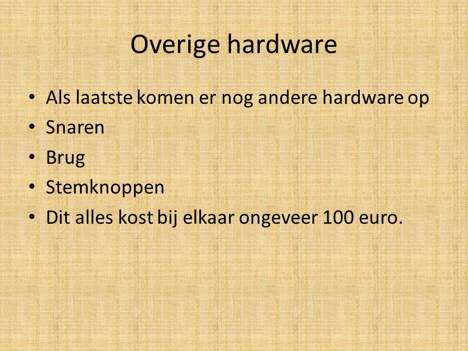 Overige hardware Als laatste komen er nog andere hardware op Snaren Brug Stemknoppen Dit alles kost bij elkaar ongeveer 100 euro.