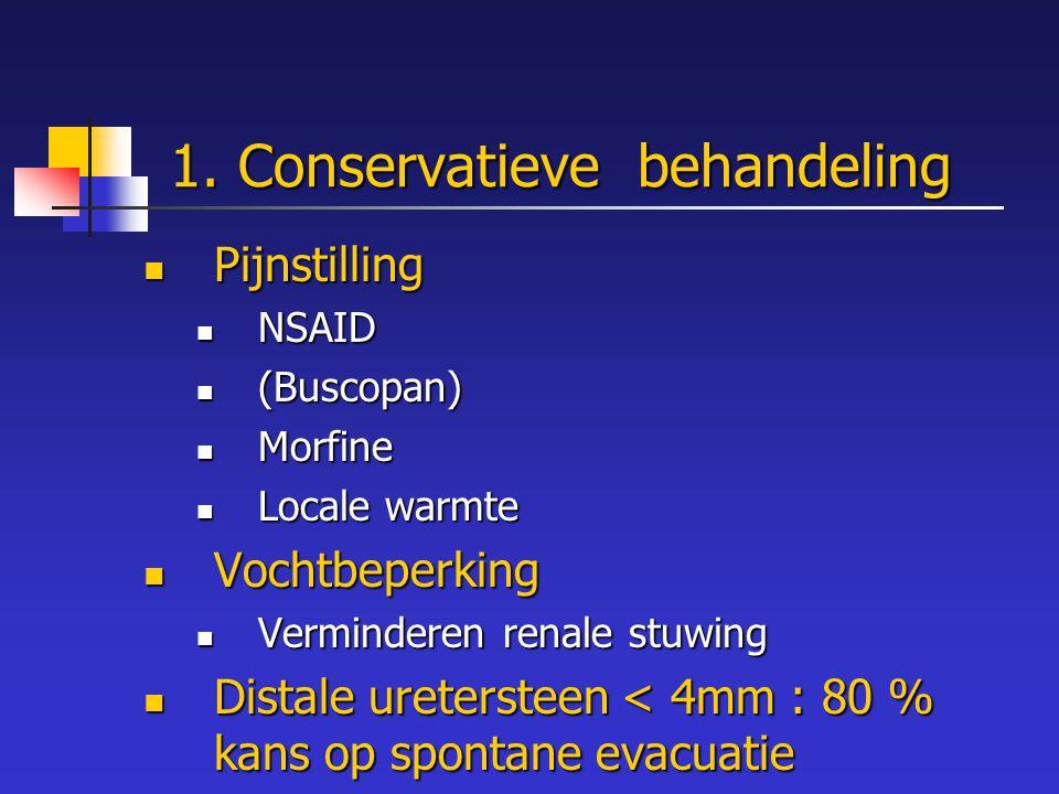 1. Conservatieve behandeling Pijnstilling Pijnstilling NSAID NSAID (Buscopan) (Buscopan) Morfine Morfine Locale warmte Locale warmte Vochtbeperking Vo