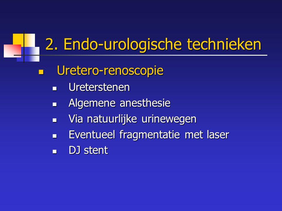 2. Endo-urologische technieken Uretero-renoscopie Uretero-renoscopie Ureterstenen Ureterstenen Algemene anesthesie Algemene anesthesie Via natuurlijke