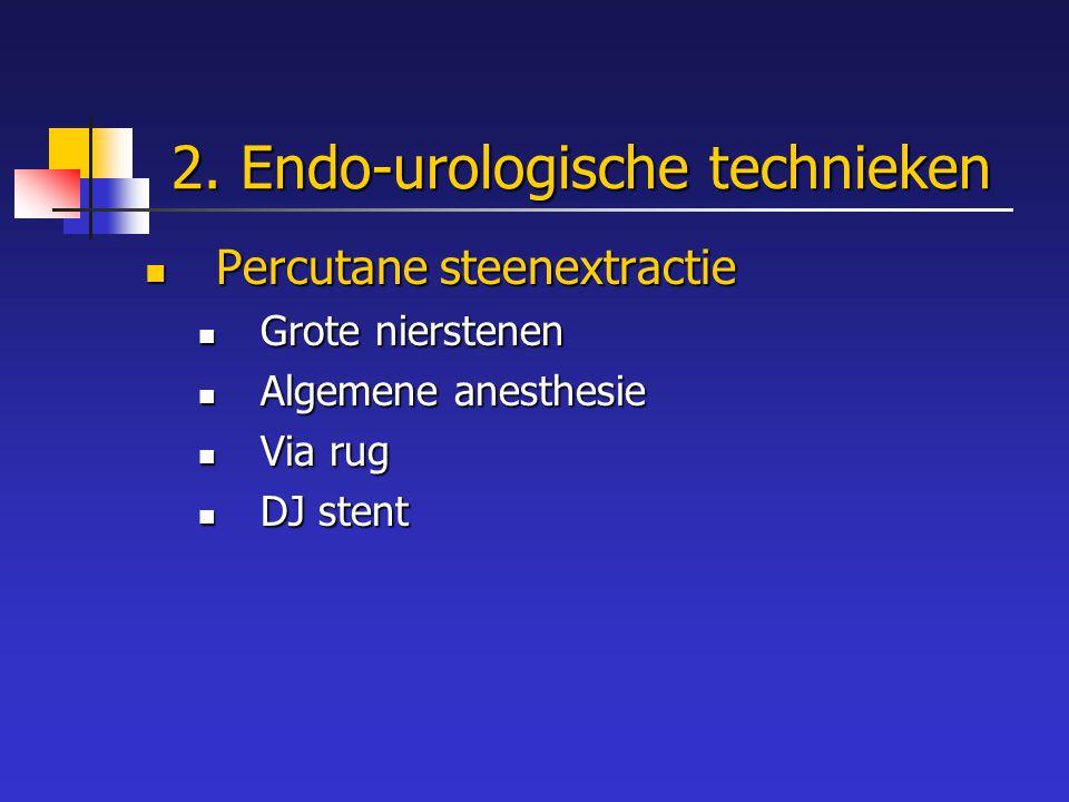 2. Endo-urologische technieken Percutane steenextractie Percutane steenextractie Grote nierstenen Grote nierstenen Algemene anesthesie Algemene anesth
