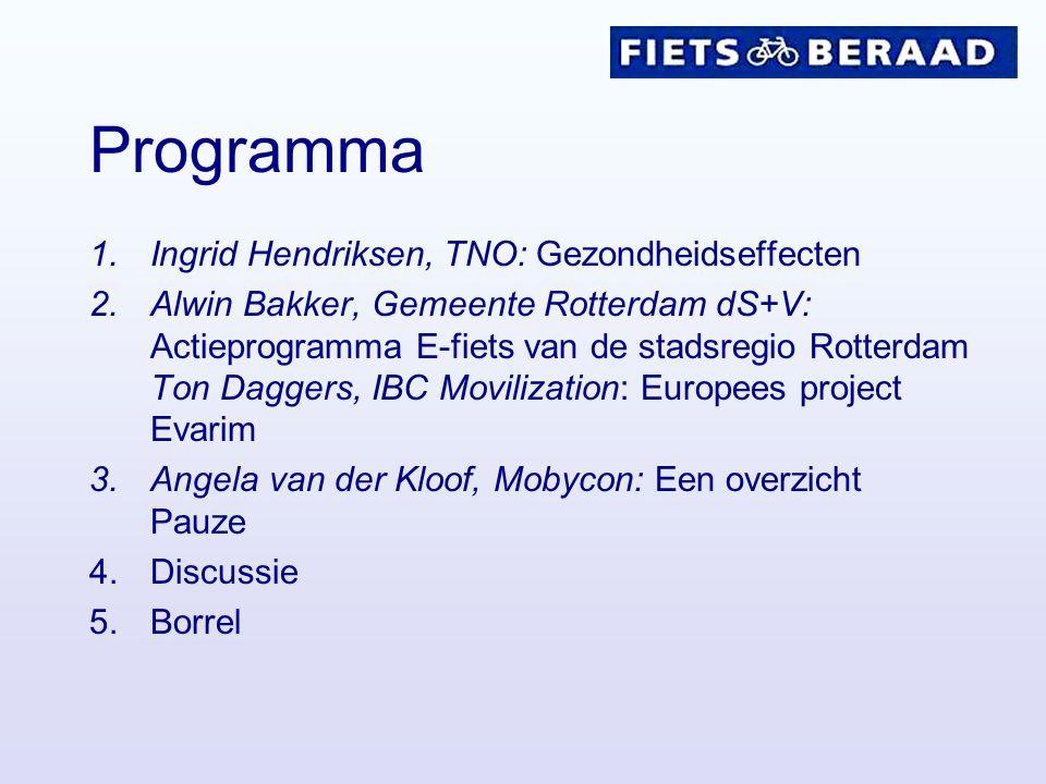 Programma 1.Ingrid Hendriksen, TNO: Gezondheidseffecten 2.Alwin Bakker, Gemeente Rotterdam dS+V: Actieprogramma E-fiets van de stadsregio Rotterdam To