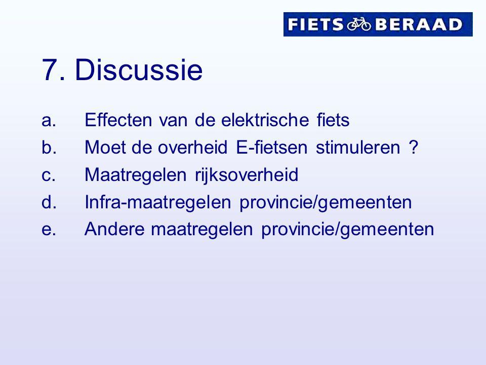 7. Discussie a.Effecten van de elektrische fiets b.Moet de overheid E-fietsen stimuleren ? c.Maatregelen rijksoverheid d.Infra-maatregelen provincie/g