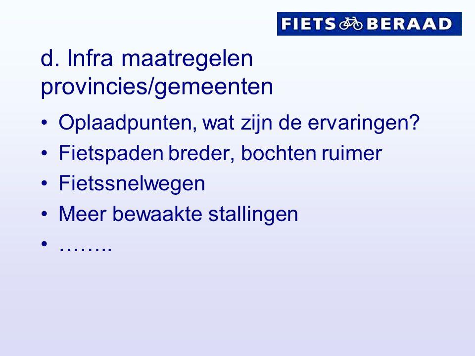 d. Infra maatregelen provincies/gemeenten Oplaadpunten, wat zijn de ervaringen.