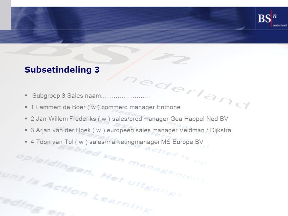 Subsetindeling 3  Subgroep 3 Sales naam……………………  1 Lammert de Boer ( w ) commerc manager Enthone  2 Jan-Willem Frederiks ( w ) sales/prod manager G