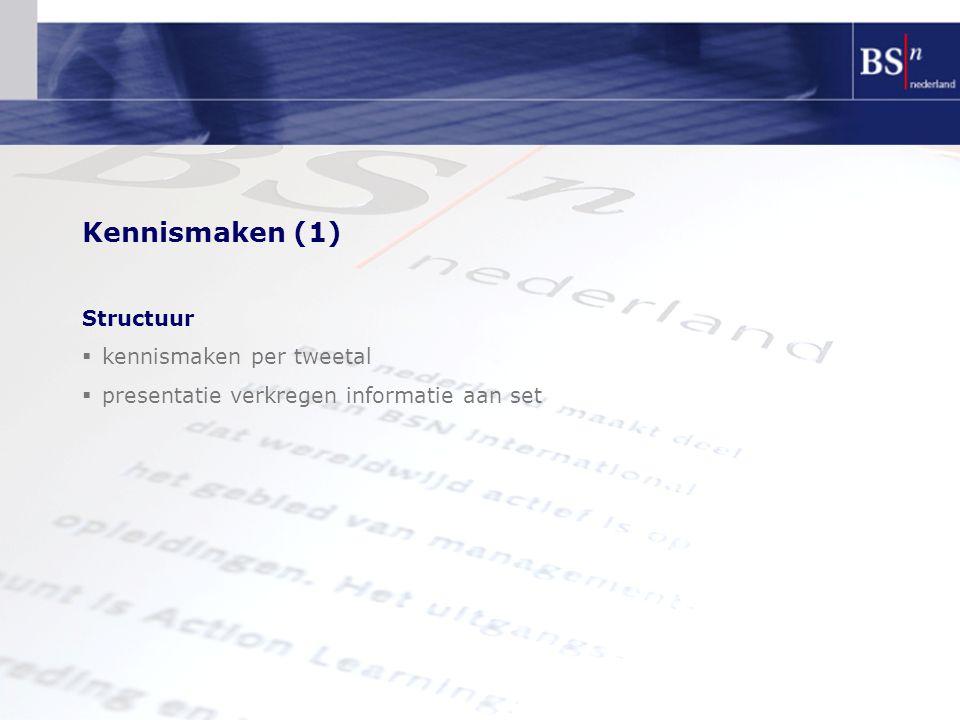 Kennismaken (1) Structuur  kennismaken per tweetal  presentatie verkregen informatie aan set