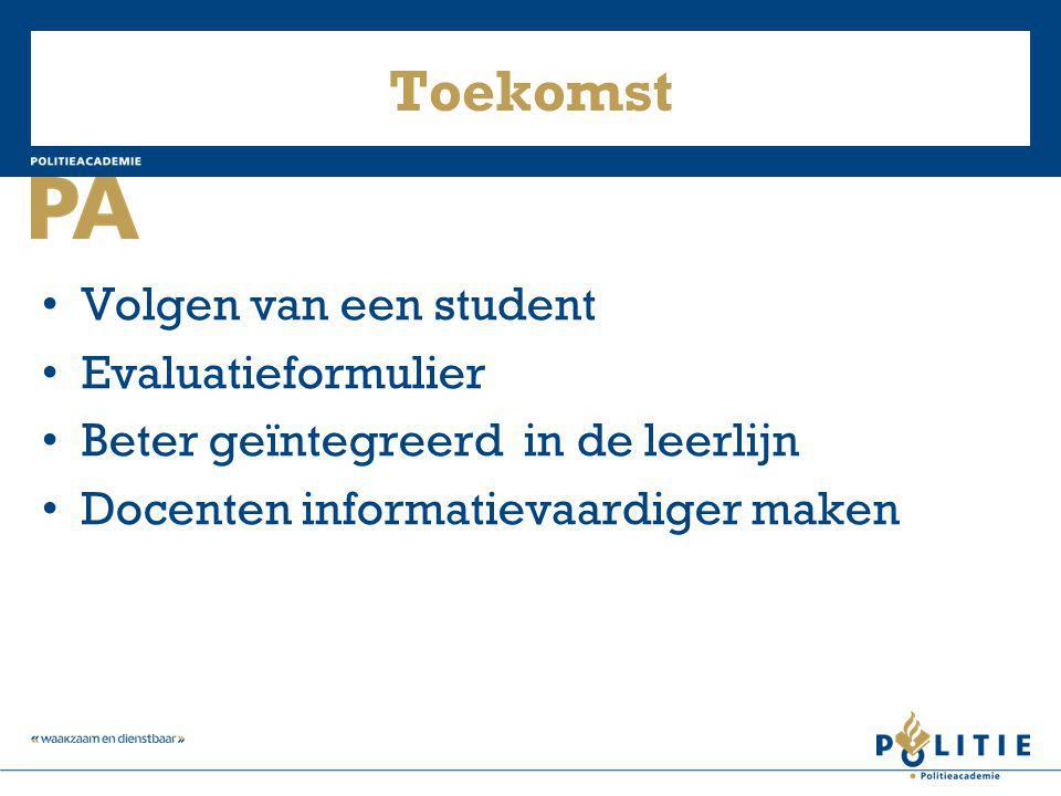 Toekomst Volgen van een student Evaluatieformulier Beter geïntegreerd in de leerlijn Docenten informatievaardiger maken