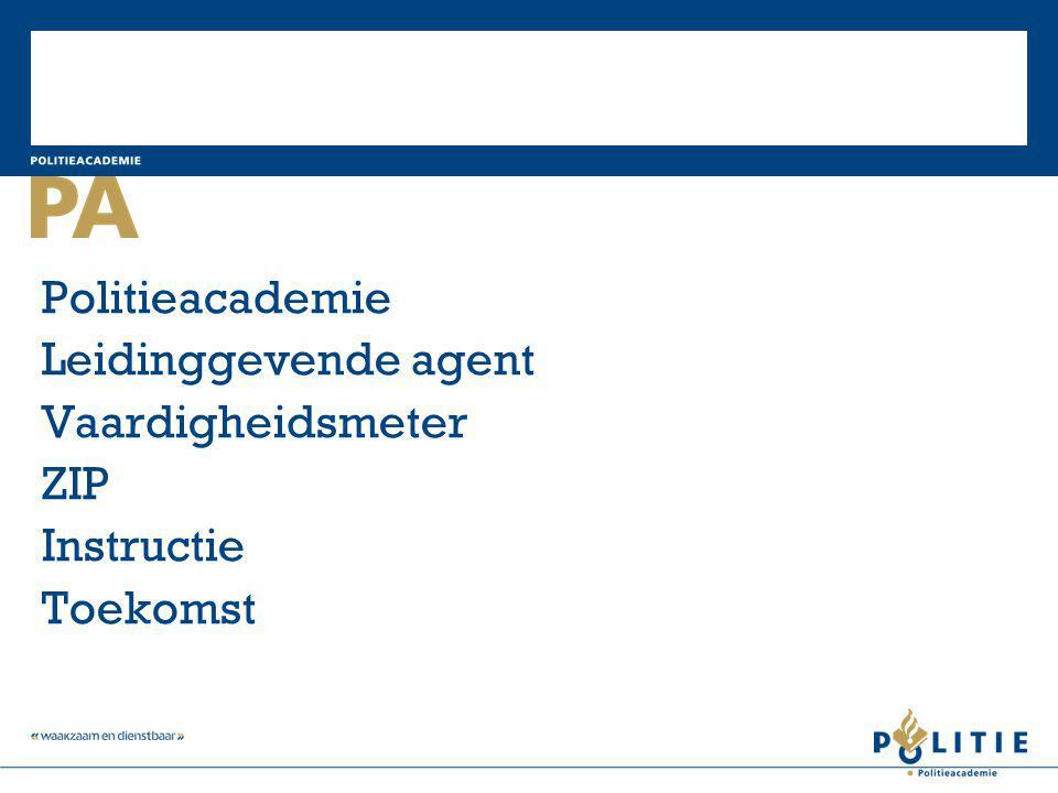 Politieacademie Leidinggevende agent Vaardigheidsmeter ZIP Instructie Toekomst