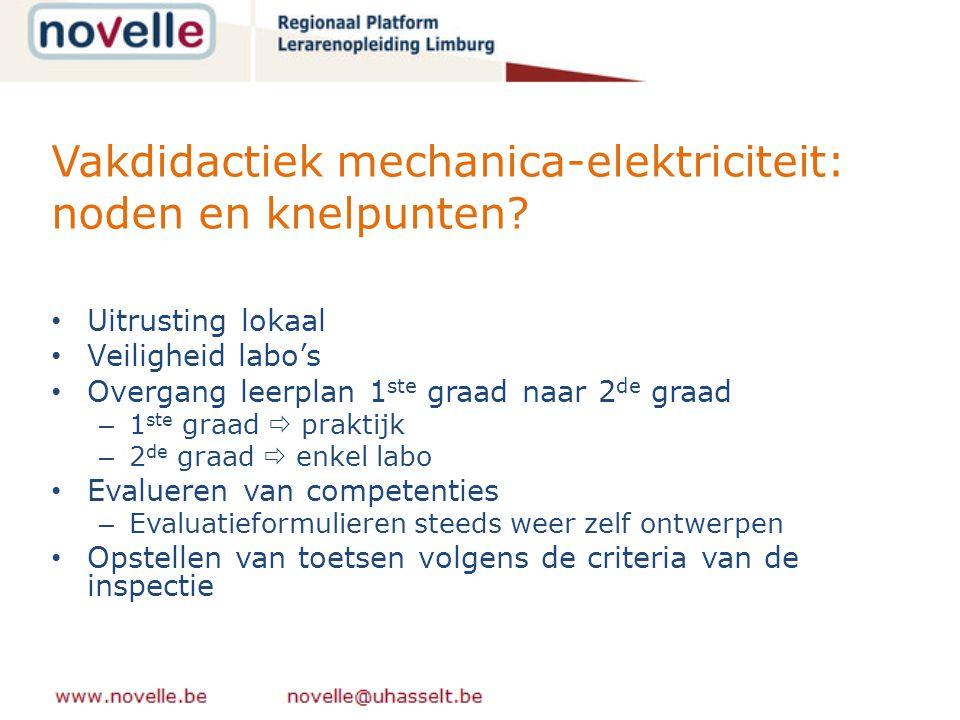 Vakdidactiek mechanica-elektriciteit: noden en knelpunten.