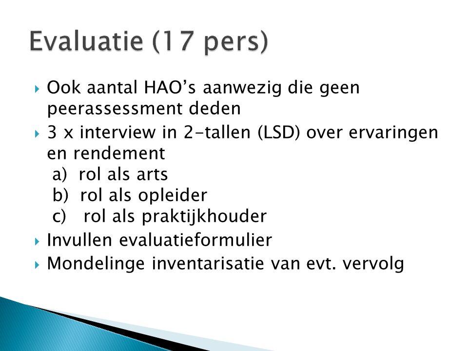  Ook aantal HAO's aanwezig die geen peerassessment deden  3 x interview in 2-tallen (LSD) over ervaringen en rendement a) rol als arts b) rol als op