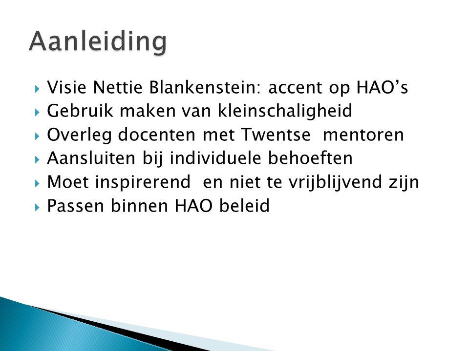  Visie Nettie Blankenstein: accent op HAO's  Gebruik maken van kleinschaligheid  Overleg docenten met Twentse mentoren  Aansluiten bij individuele