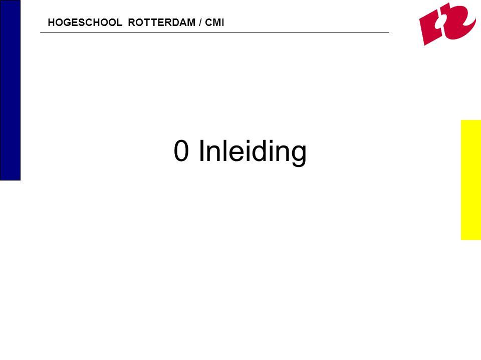 HOGESCHOOL ROTTERDAM / CMI 0 Inleiding
