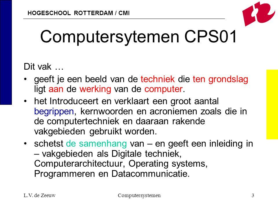 HOGESCHOOL ROTTERDAM / CMI L.V. de ZeeuwComputersystemen3 Computersytemen CPS01 Dit vak … geeft je een beeld van de techniek die ten grondslag ligt aa